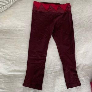 "Lulu lemon beet colored 21"" crop leggings"